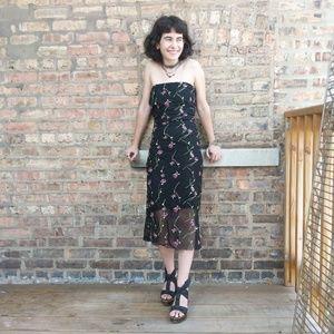 Nicole Miller black flower embellished dress P